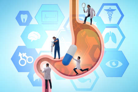 Doctors examining stomach in the medical concept