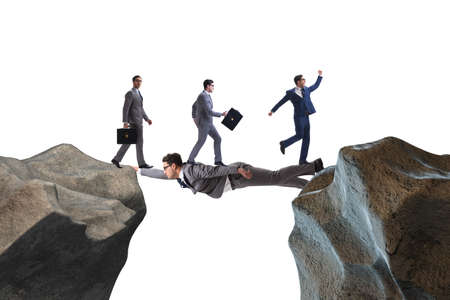 The businessman acting as a bridge in support concept