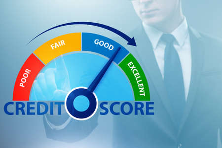 The businessman in credit score concept