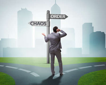 The businessman in difficult choice concept