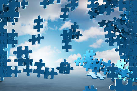 Jigsaw puzzle pieces - 3d rendering