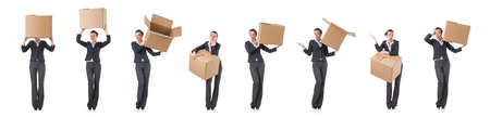 The woman businesswoman with boxes on white Zdjęcie Seryjne