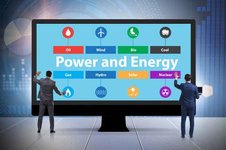 Energy mix concept with businessman