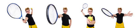 The funny tennis player isolated on white Stock Photo