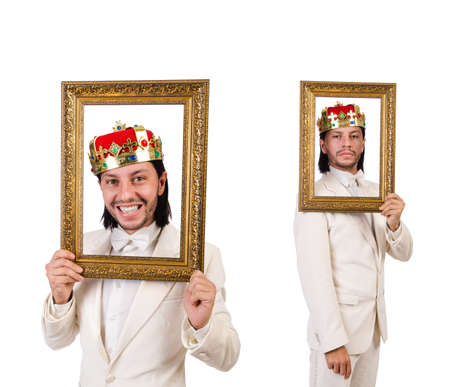 King with picture frame on white background Standard-Bild
