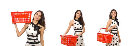 Woman with supermarkey basket isolated on white background