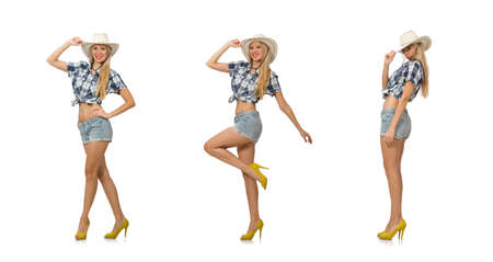 Woman wearing cowboy hat isolated on white background