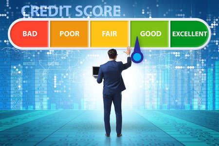 The businessman in credit score concept Stockfoto