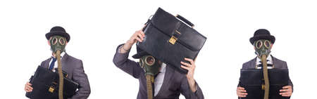 Businessman wearing gas mask isolated on white Archivio Fotografico