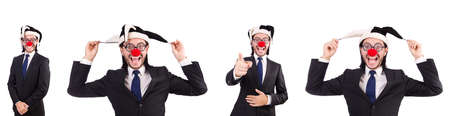 Funny clown businessman isolated on the white background 写真素材