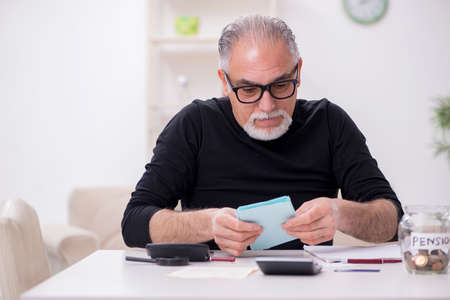 Old male retired in budget planning concept Banque d'images