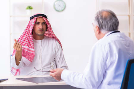 Young male arab visiting experienced male doctor 版權商用圖片