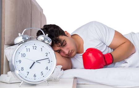 Man in bed suffering from insomnia 版權商用圖片