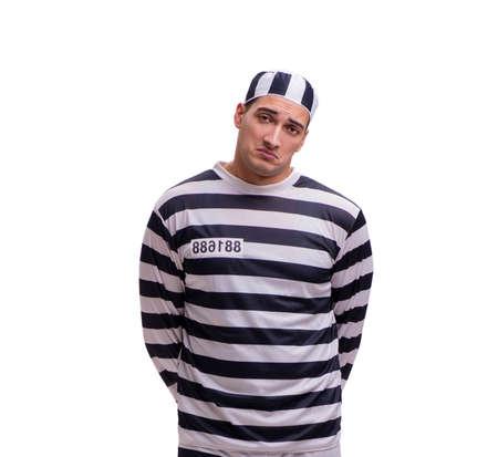 Man prisoner isolated on white background 版權商用圖片