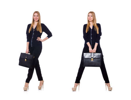 Tall young woman in black clothing with handbag isolated on whit