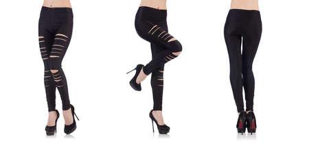 Woman legs with stockings on white Stock Photo - 143900389