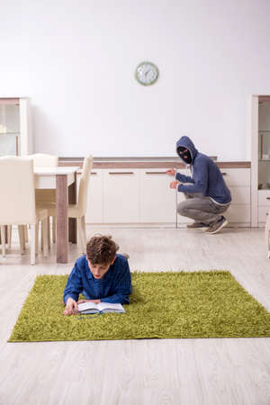 Child abduction concept with young boy