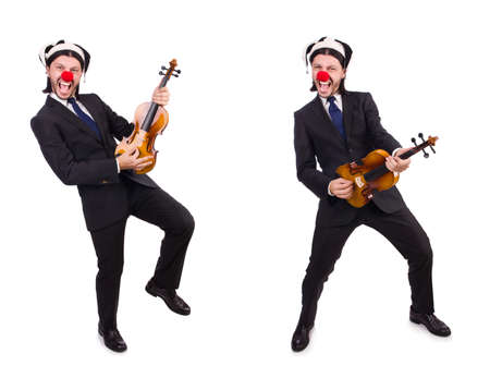 Funny clown businessman isolated on the white background Banque d'images