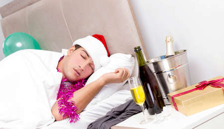 Man with hangover after late partying Stock Photo