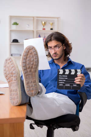 Movie director working in the studio