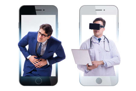 Telemedicine concept with doctor examining remotely Stock Photo