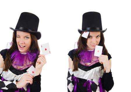 Pretty girl in jester costume with cards isolated on white Foto de archivo