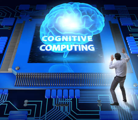 Cognitive computing concept as future technology with businessman