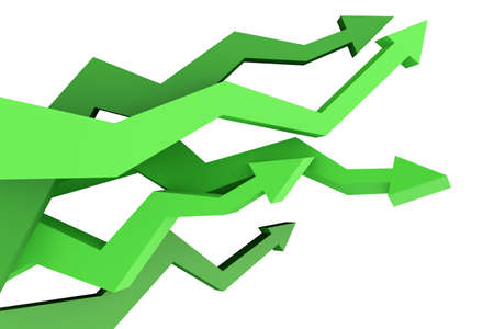Many arrows showing different business results Stock Photo