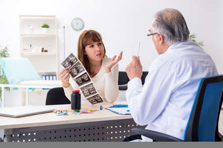 Pregnant woman visiting experienced doctor gynecologist