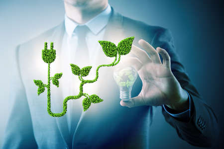 Green energy concept with the businessman