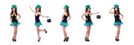The female model in irish costume isolated on white