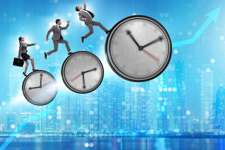 Growth and recovery concept with businessman and clocks