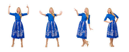 The woman in blue dress with flower prints isolated on white