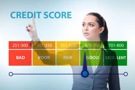 Businesswoman in credit score concept Reklamní fotografie