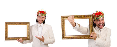King with picture frame on white Standard-Bild