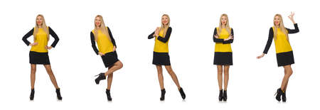 The blond hair girl in yellow and black clothing isolated on white