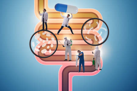 Doctors treating intestines illness - medical illustration