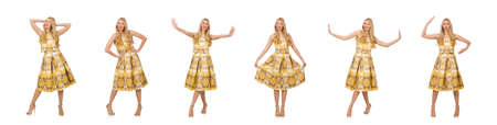 Pretty girl in yellow floral dress isolated on white Banque d'images