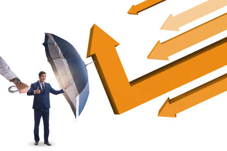 Recovery concept with the businessman and charts