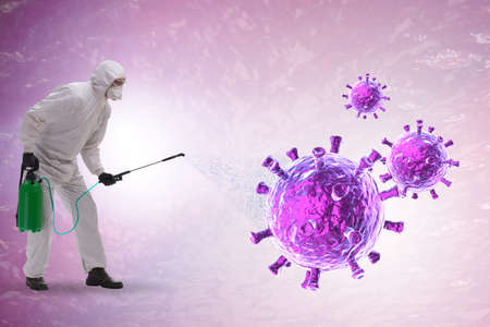 Disinfection concept with person fighting coronavirus