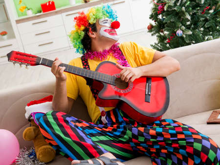 The funny clown in christmas celebration concept Banque d'images