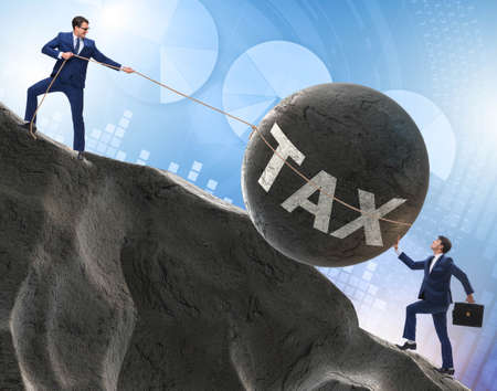 Business concept of tax payments burden Stock Photo