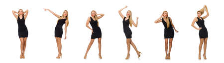 Young pretty woman in mini black dress isolated on white Banque d'images