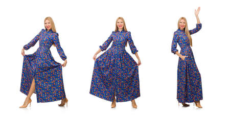Young woman in blue floral dress isolated on white Banque d'images