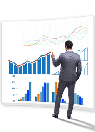 Businessman in business visualization and infographics concept 免版税图像