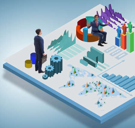 Businessman in business infographics concept 免版税图像