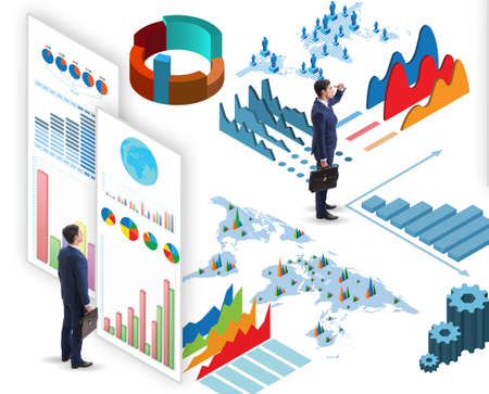 Homme d'affaires dans le concept de visualisation et d'infographie d'entreprise