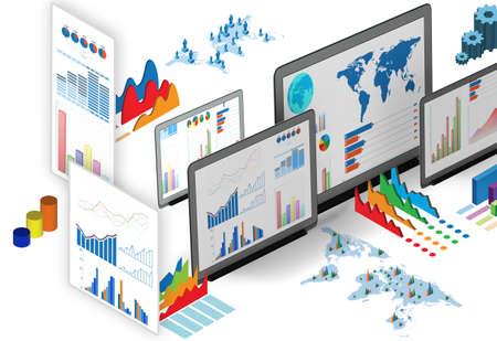 The business charts and infographics - 3d rendering 免版税图像