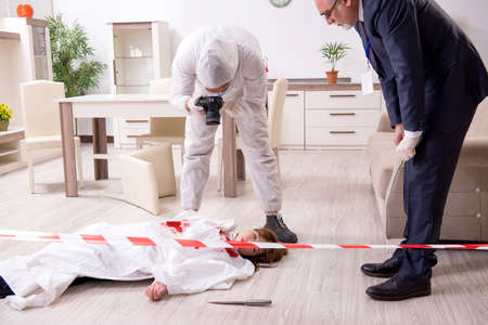 Forensic experts at the crime scene