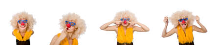 Funny clown woman isolated on the white Stock Photo